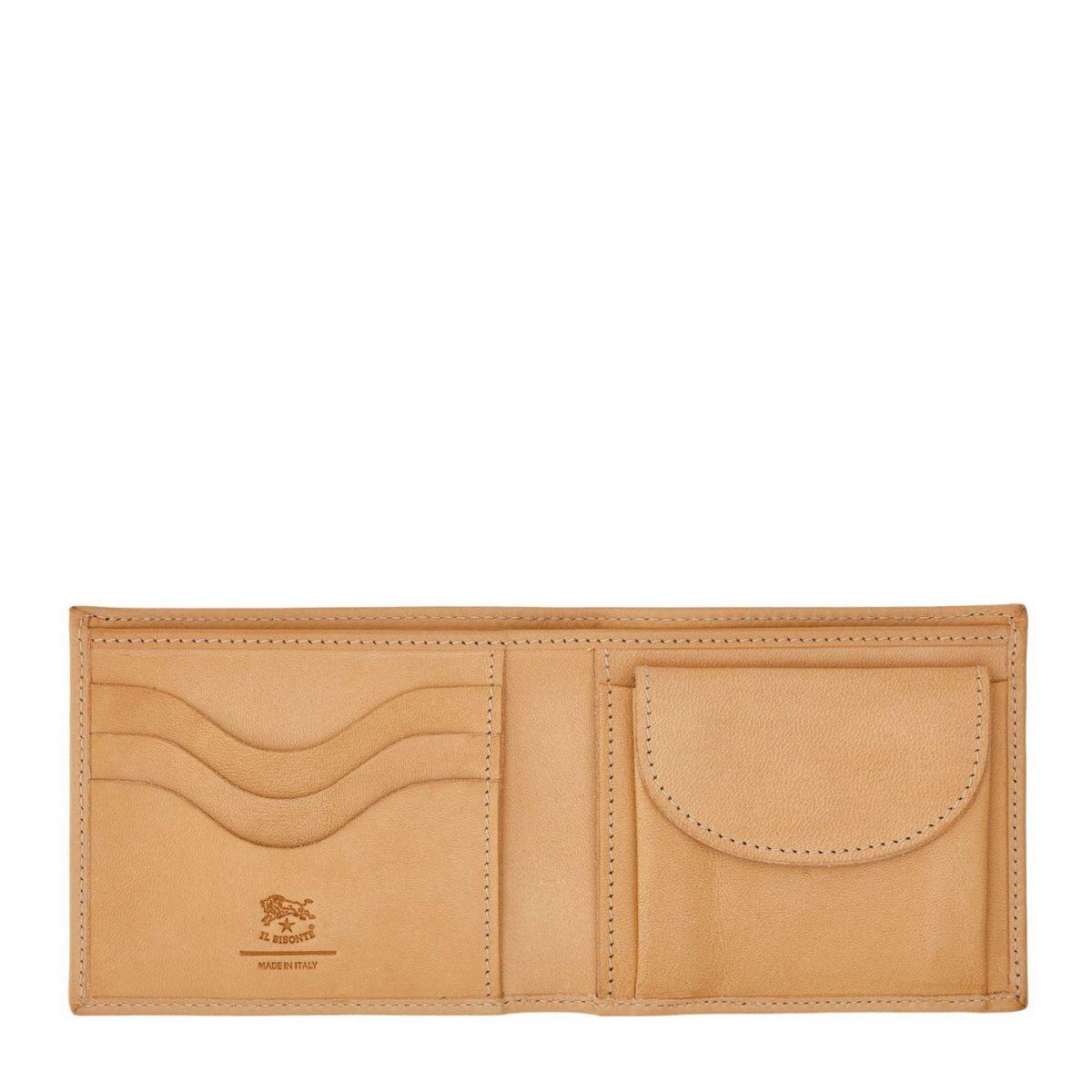 Men's Bi-Fold Wallet  in Cowhide Leather SBW041 color Natural | Details