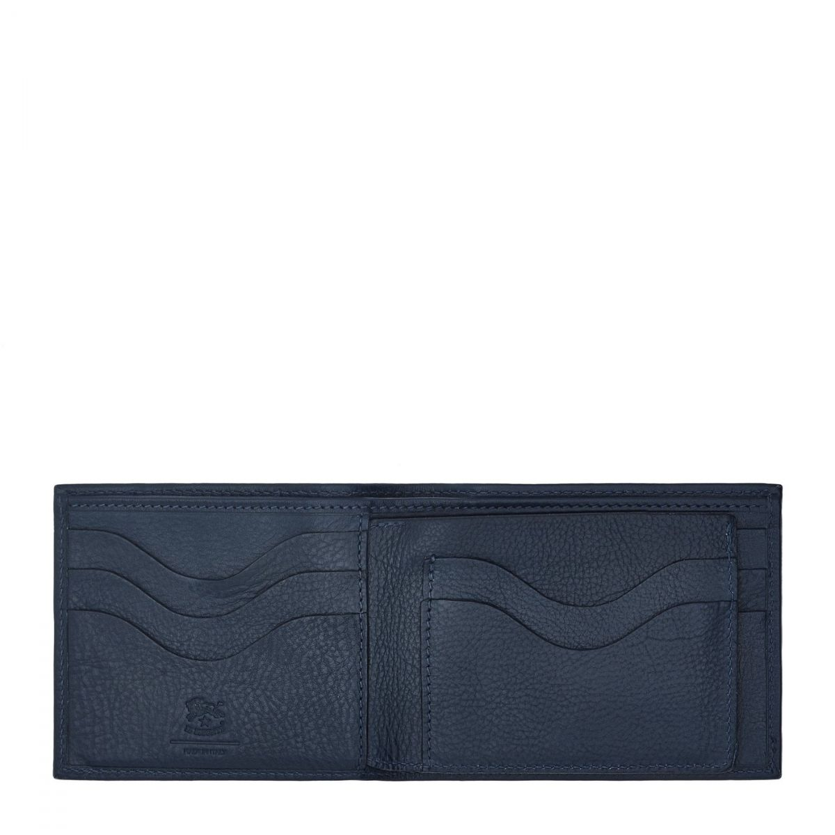 Men's Bi-Fold Wallet  in Cowhide Leather SBW042 color Blue | Details