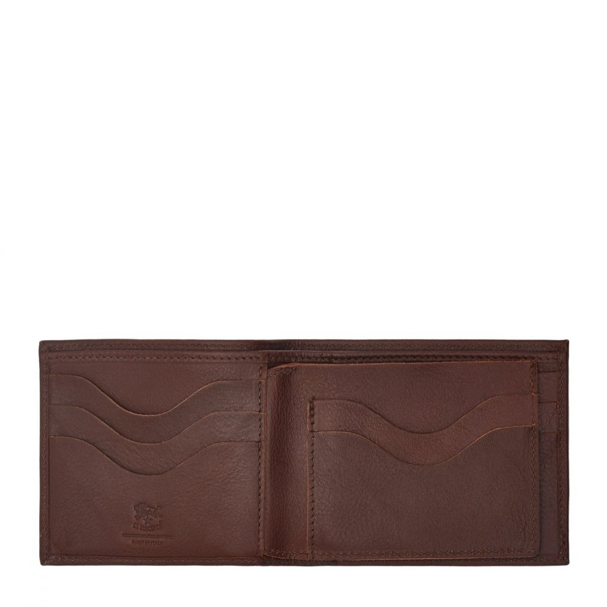 Men's Bi-Fold Wallet  in Cowhide Leather SBW042 color Brown | Details