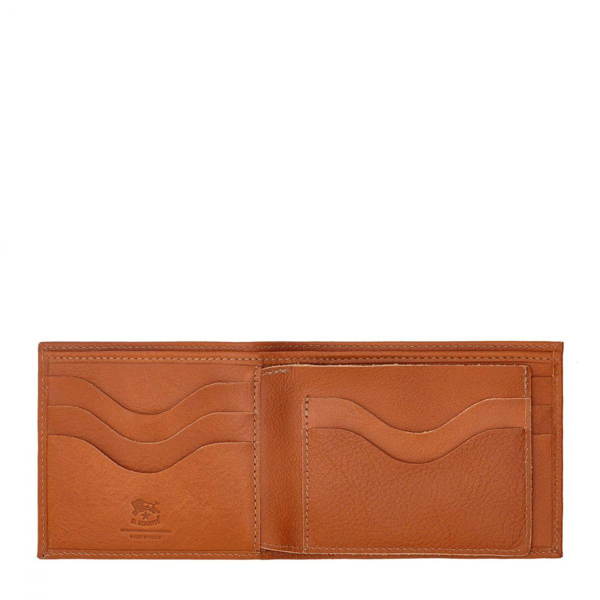 Men's Bi-Fold Wallet  in Cowhide Leather SBW042 color Caramel | Details