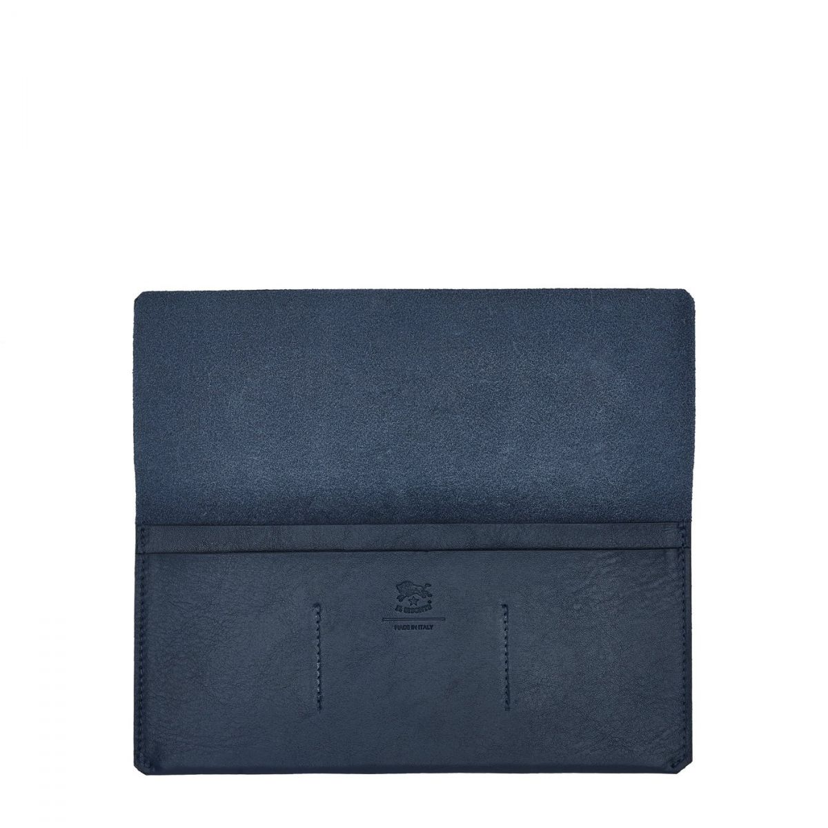 Bi-Fold Wallet  in Cowhide Leather SBW043 color Blue | Details