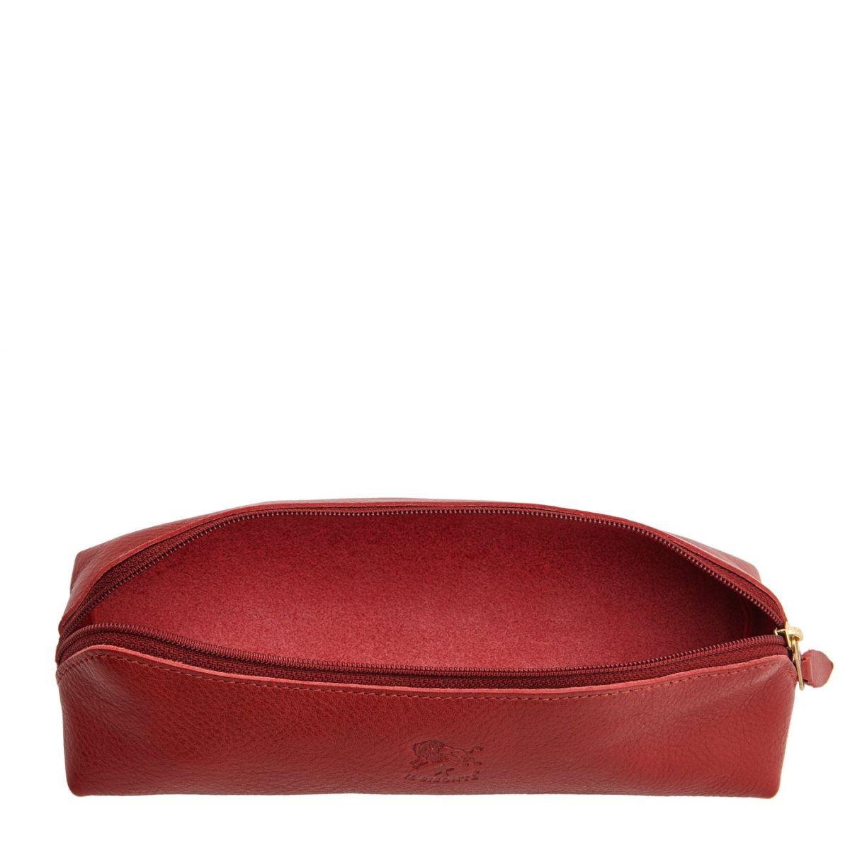 Étui pour Femme  en Cuir De Vachette Doublé SCA020 couleur Rouge | Details