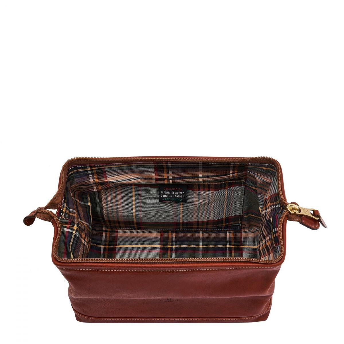 Men's Case  in Vintage Cowhide Leather SCA024 color Dark Brown Seppia | Details