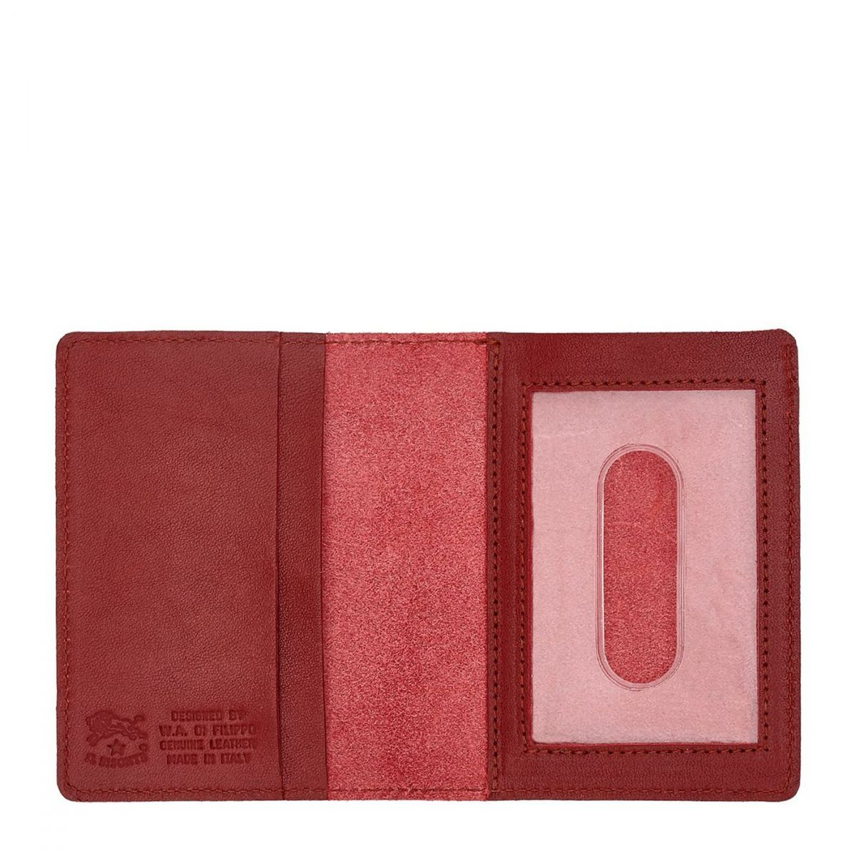 Card Case  in Cowhide Double Leather SCC003 color Red | Details