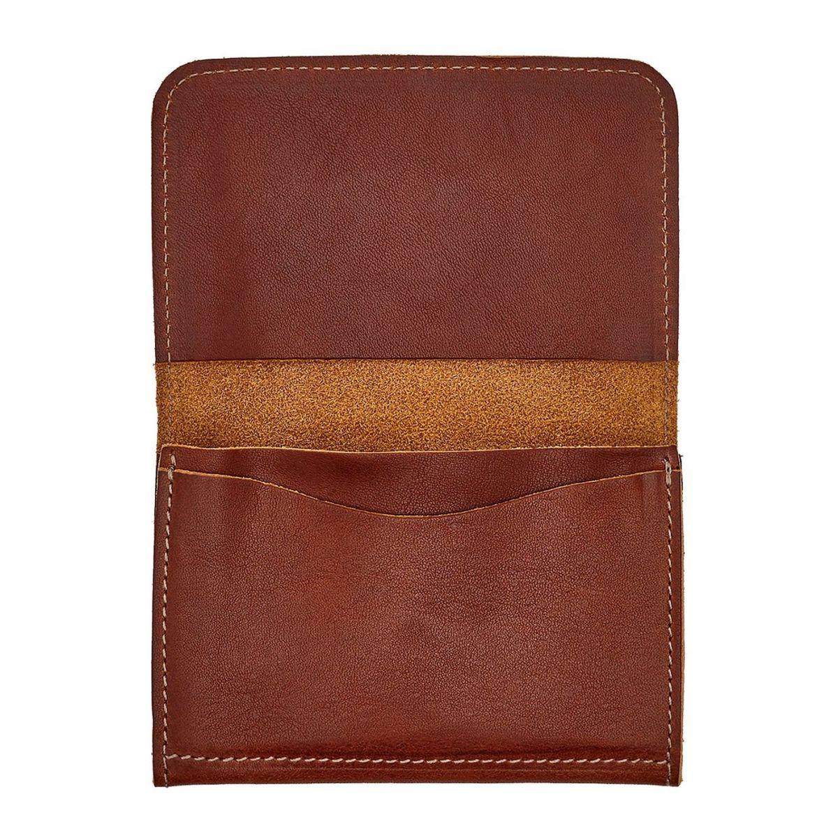Card Case in Vintage Cowhide Leather color Dark Brown Seppia - SCC004 | Details