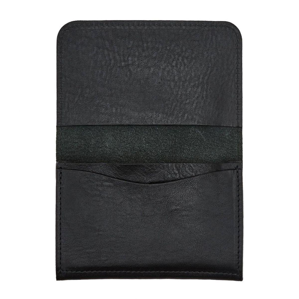 Card Case in Cowhide Double Leather color Black - SCC004 | Details