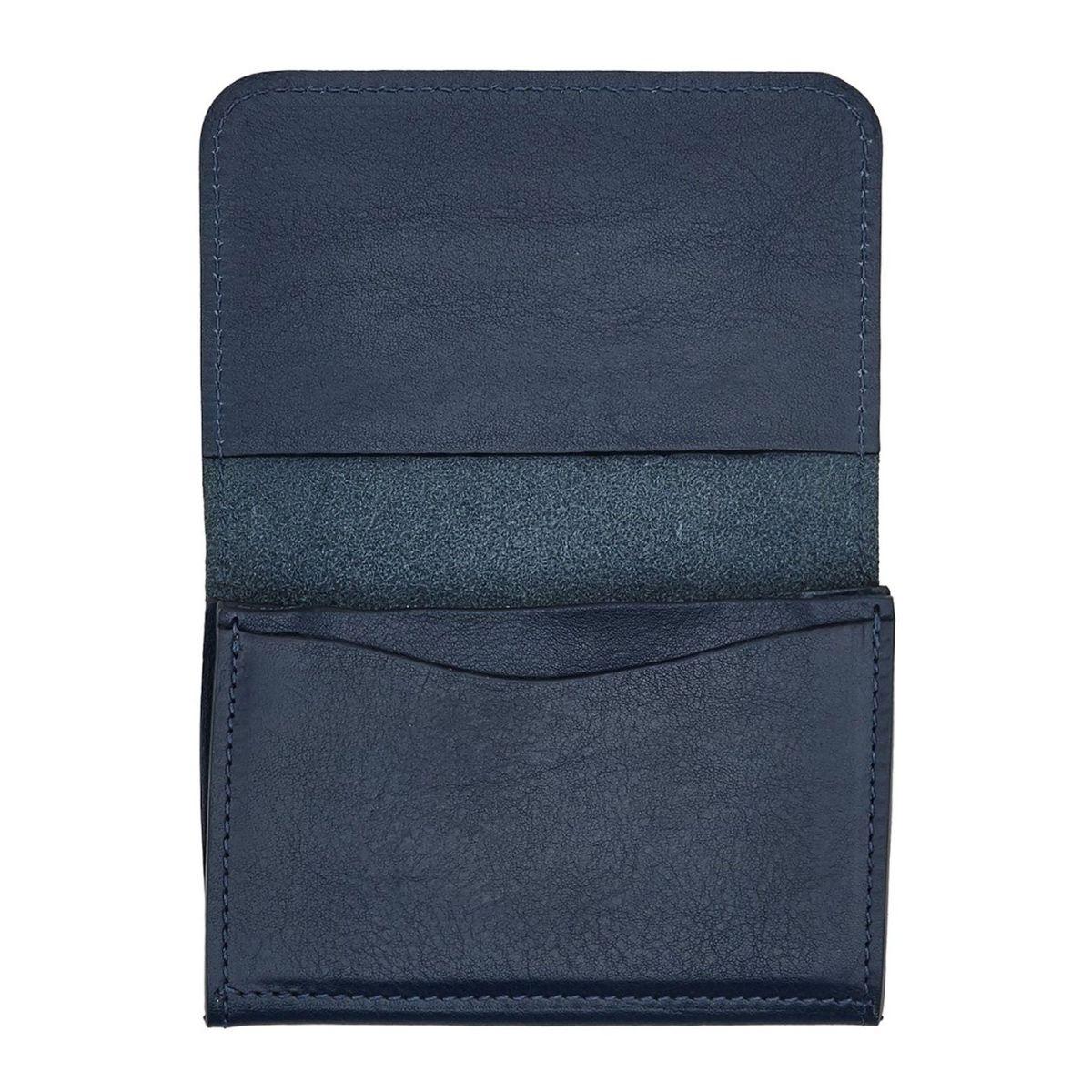 Card Case  in Cowhide Double Leather SCC004 color Blue | Details