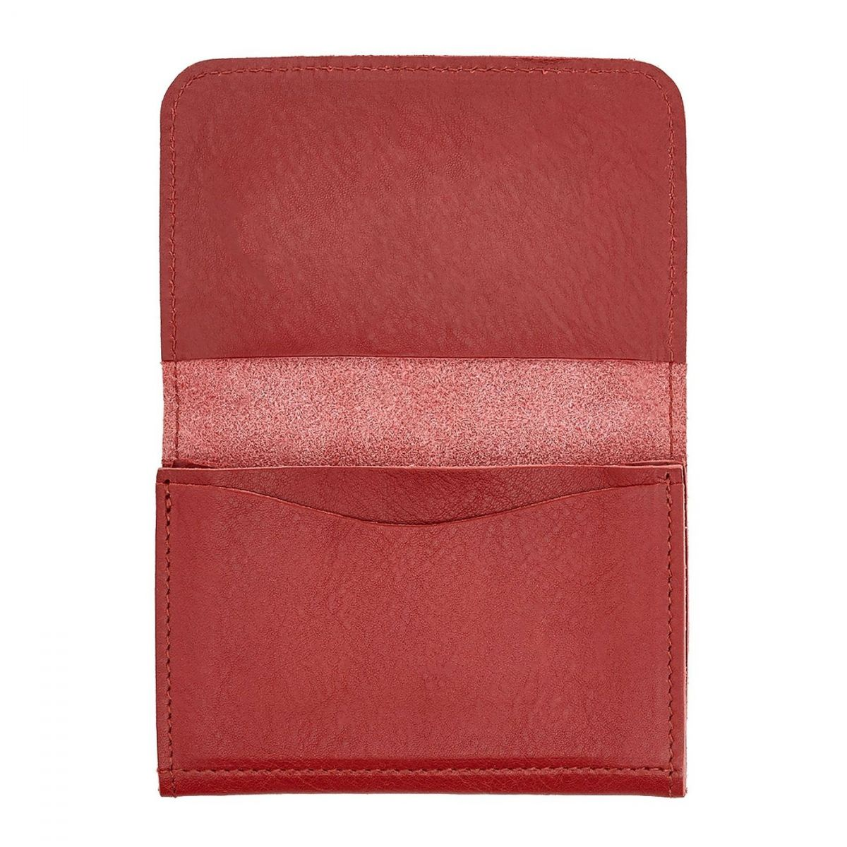 Porte-Cartes  en Cuir De Vachette Doublé SCC004 couleur Rouge | Details