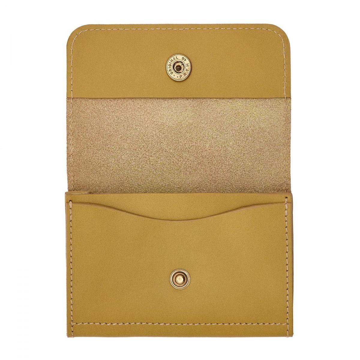 Porte-Cartes Piccolino en Cuir De Vachette SCC006 couleur Curry | Details