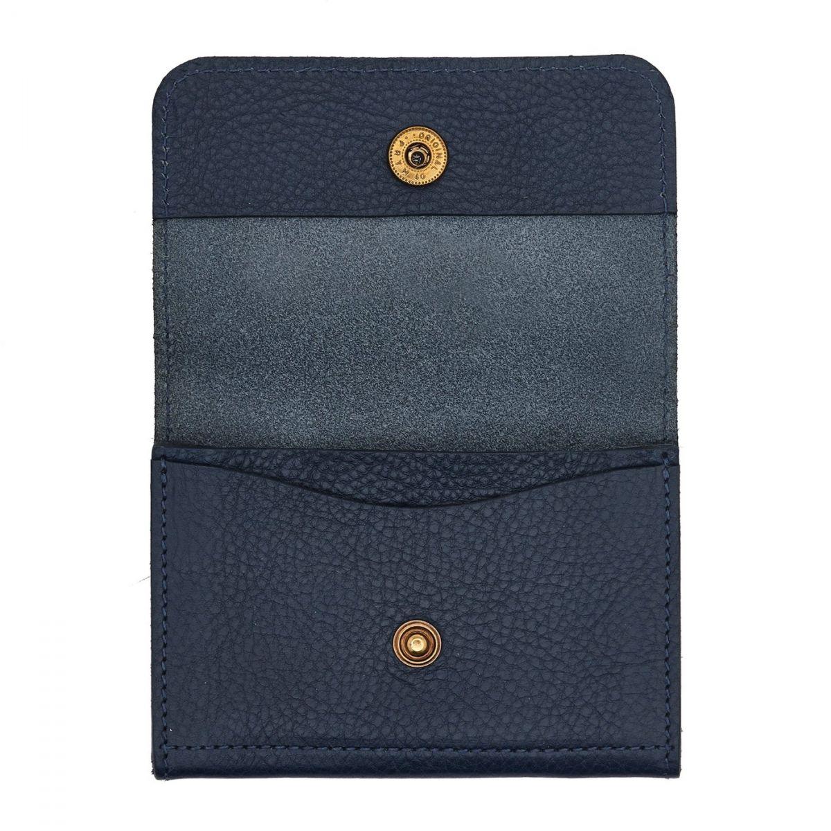 Porta Carte Piccolino in Pelle Di Vacchetta SCC006 colore Blu | Details
