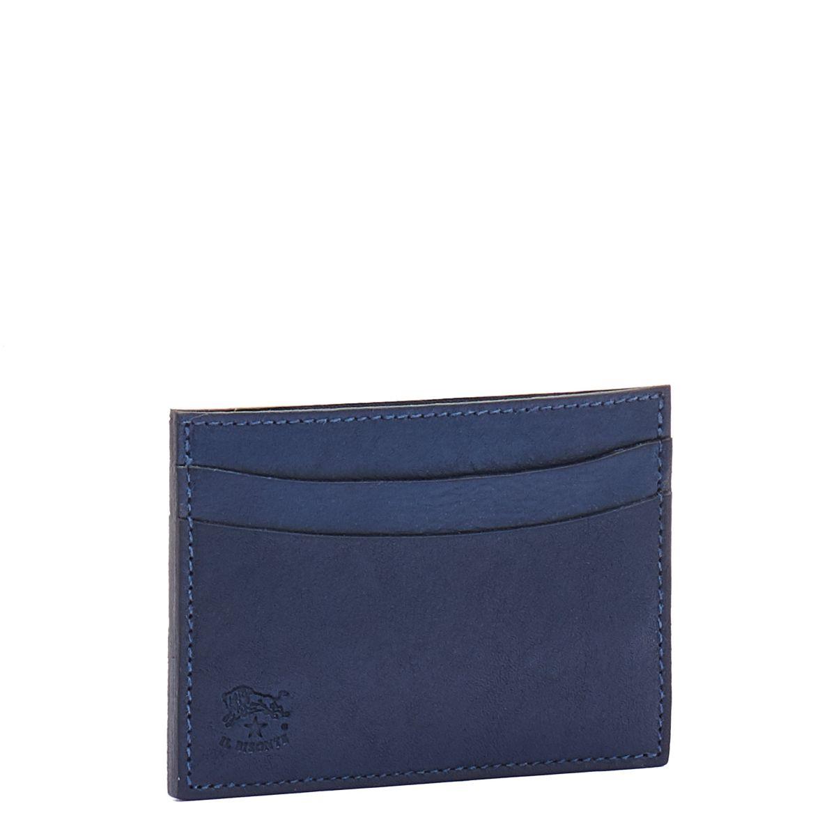 Porte-Cartes en Cuir De Vachette Doublé couleur Bleu - SCC019 | Details