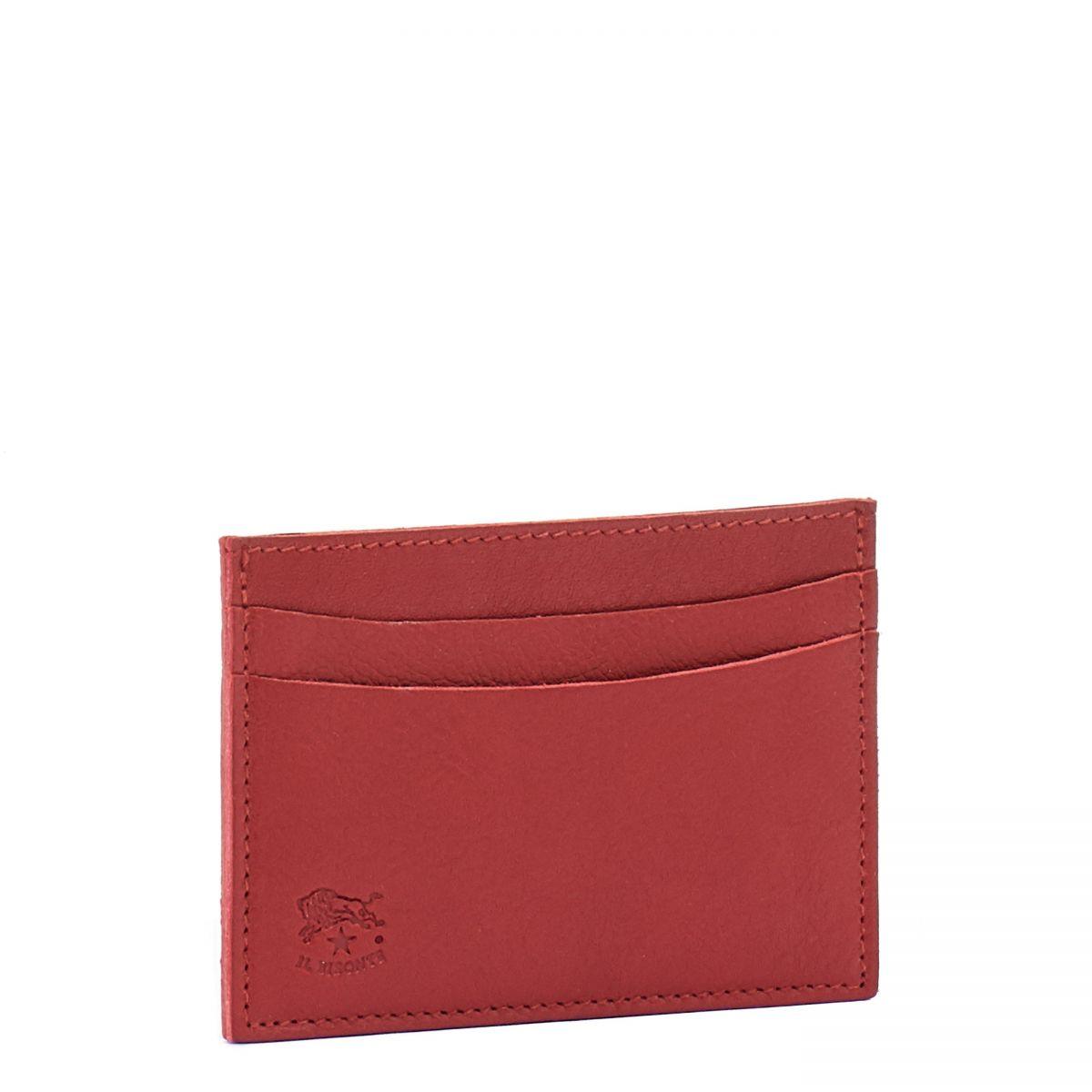 Porte-Cartes  en Cuir De Vachette Doublé SCC019 couleur Rouge | Details