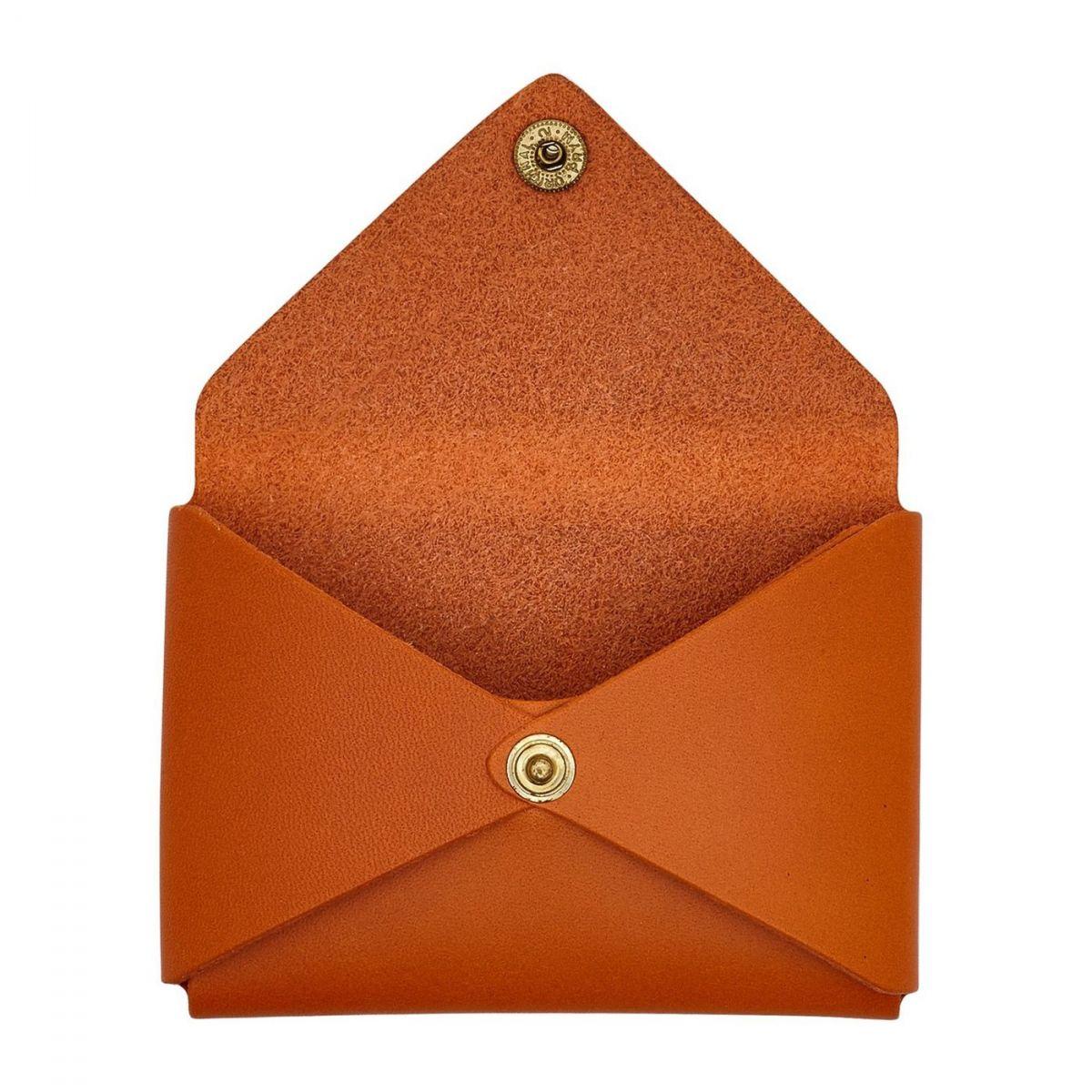 Women's Card Case  in Cowhide Double Leather SCC031 color Orange | Details