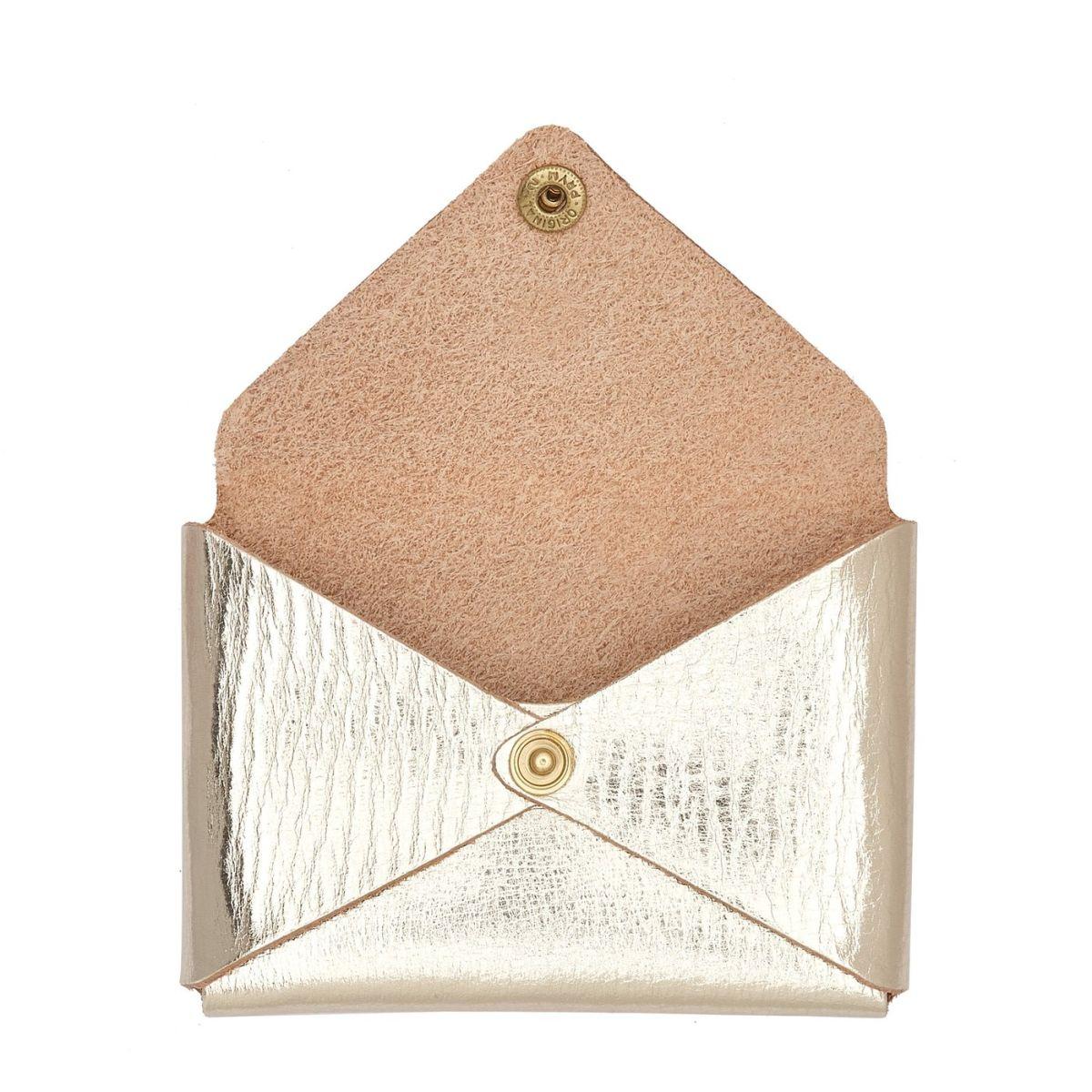 Women's Card Case  in Leather SCC031 color Metallic Platinum | Details