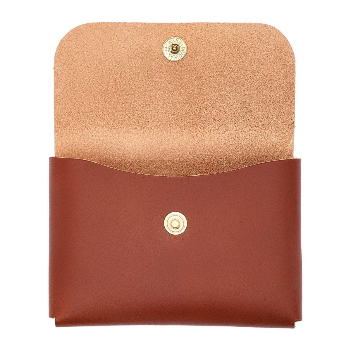 Porte-Cartes  en Cuir De Vachette Doublé SCC032 couleur Brun Foncé Seppia | Details