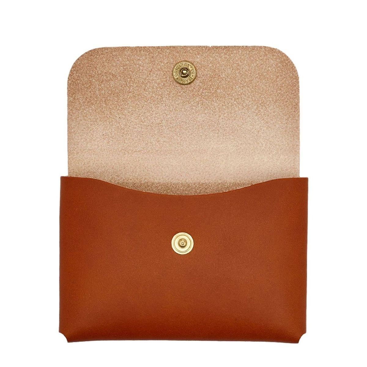 Porte-Cartes  en Cuir De Vachette Doublé SCC032 couleur Caramel | Details