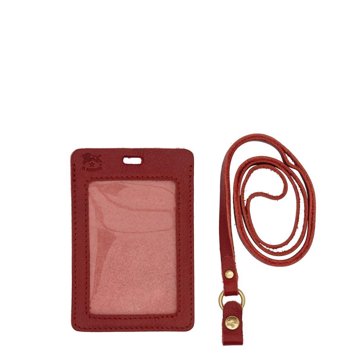 Porte-Cartes  en Cuir De Vachette Doublé SCC033 couleur Rouge | Details