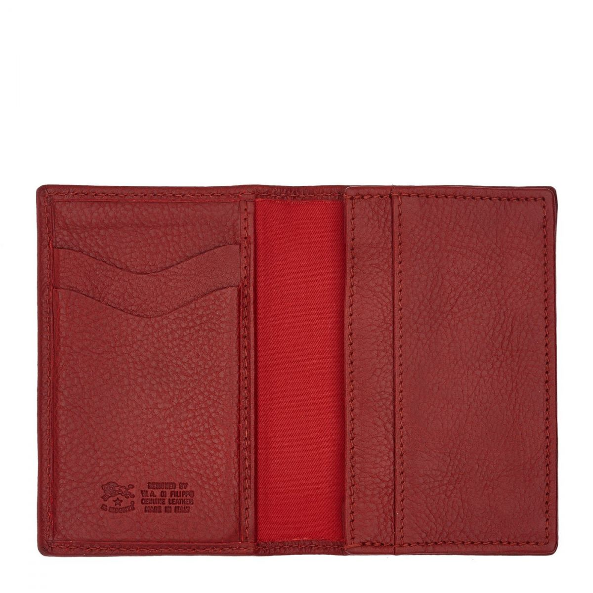 Card Case  in Cowhide Double Leather SCC036 color Red | Details