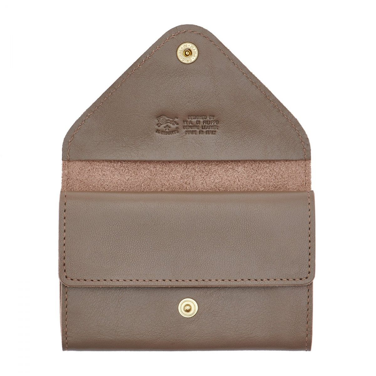 Card Case in Cowhide Double Leather color Light Grey - SCC039 | Details