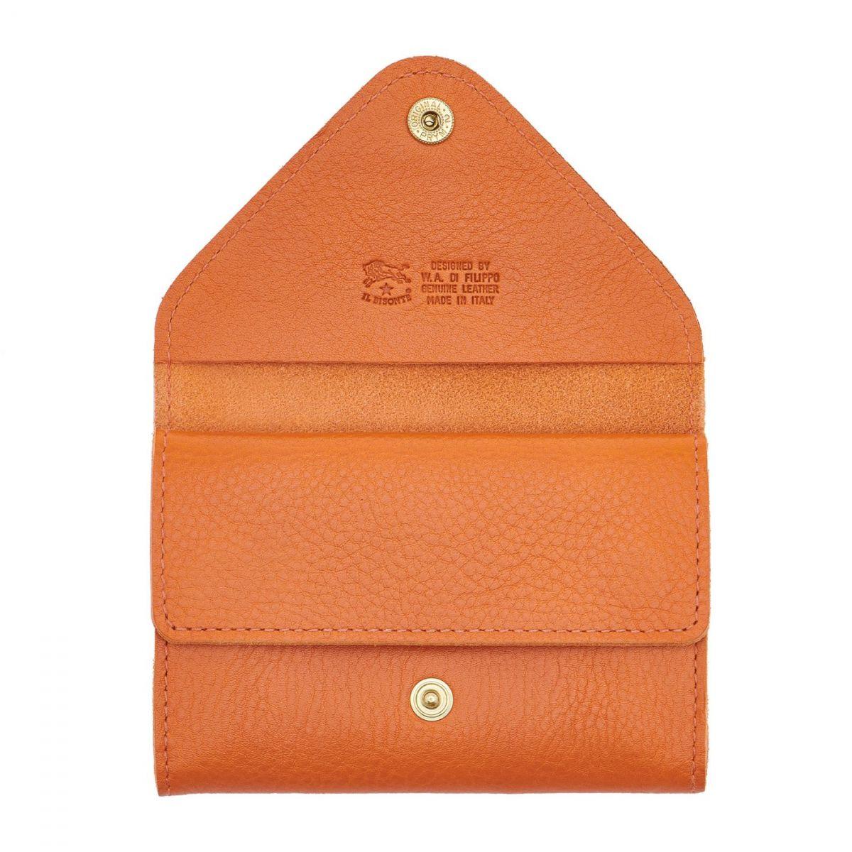 Card Case in Cowhide Double Leather color Orange - SCC039 | Details