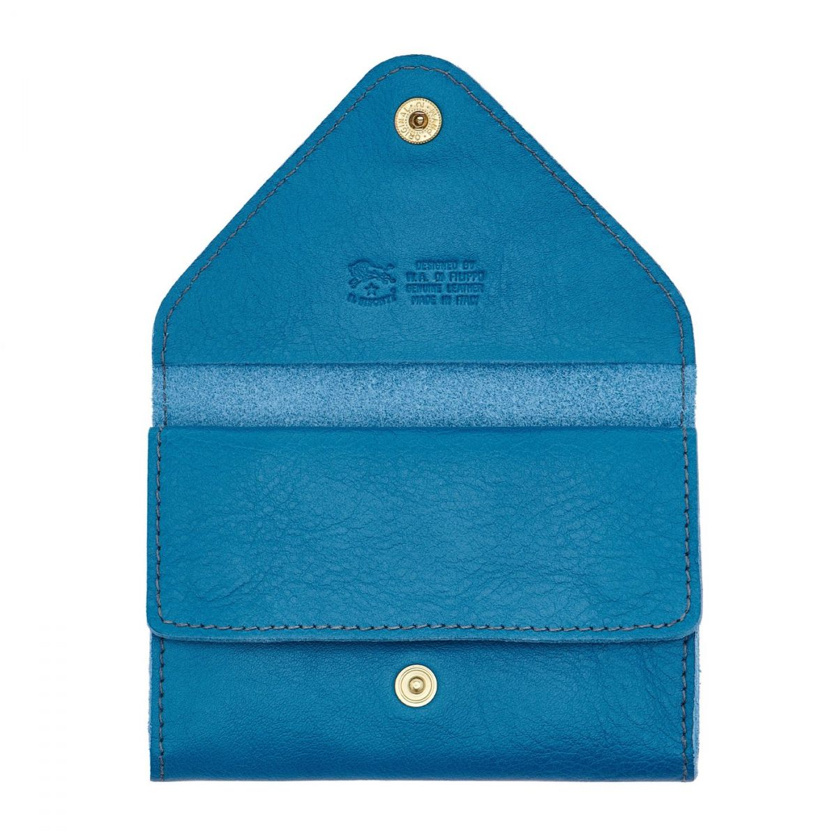 Card Case in Cowhide Leather color Blue Teal - Uffizi line SCC039   Details