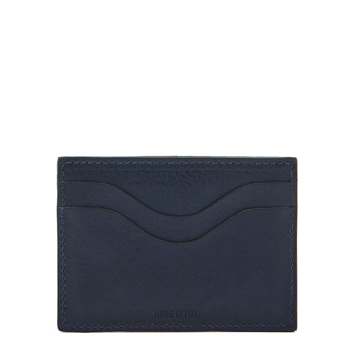 Porte-Cartes  en Cuir De Vachette SCC050 couleur Bleu | Details
