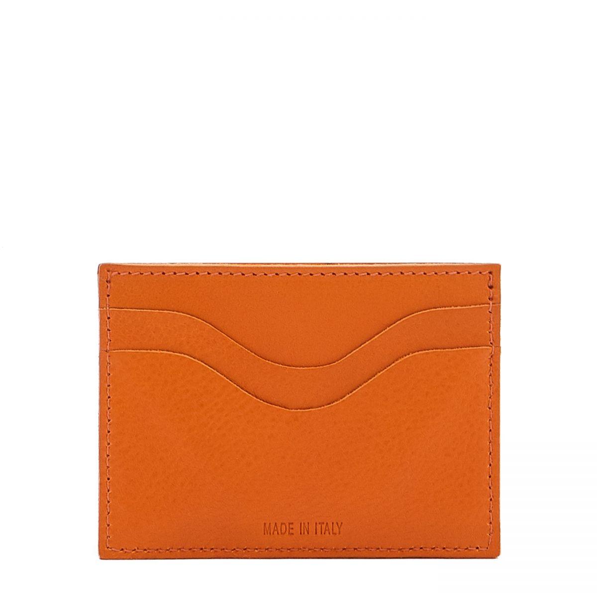 Card Case  in Cowhide Leather SCC050 color Orange | Details