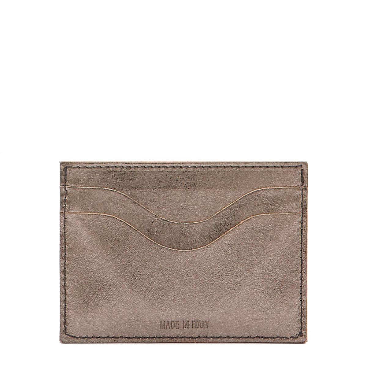 Card Case Salina in Metallic Leather SCC050 color Metallic Bronze | Details