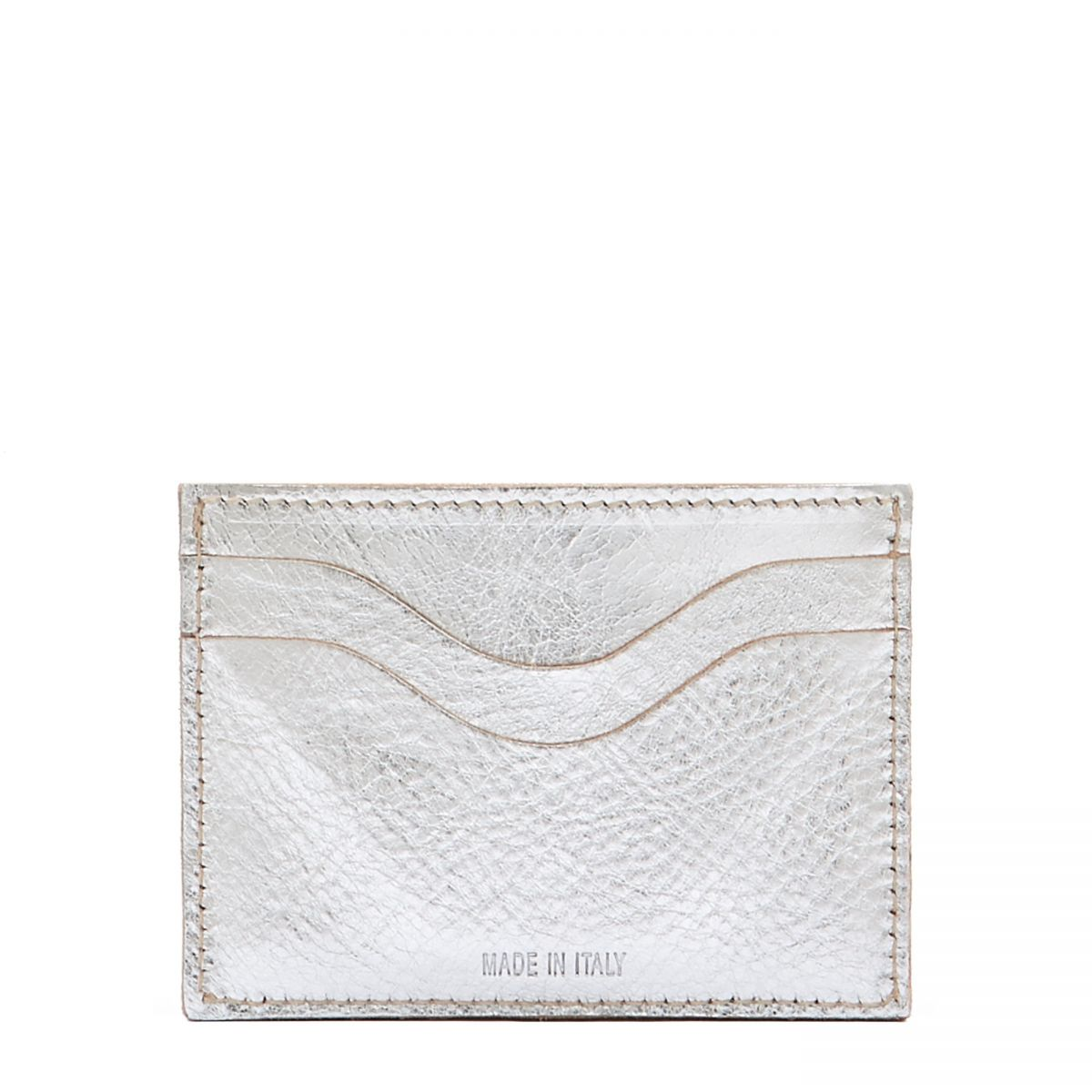 Card Case Salina in Metallic Leather SCC050 color Metallic Silver | Details