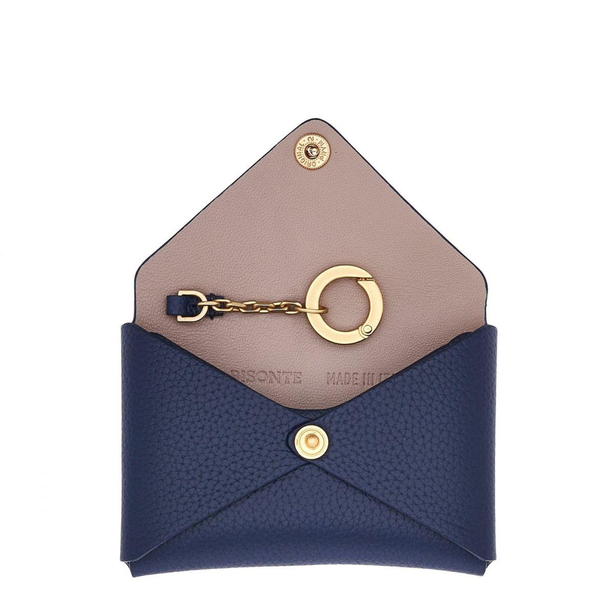 Titania - Porte-Cartes Multipocket en Cuir De Veau SCC065 couleur Bleu | Details
