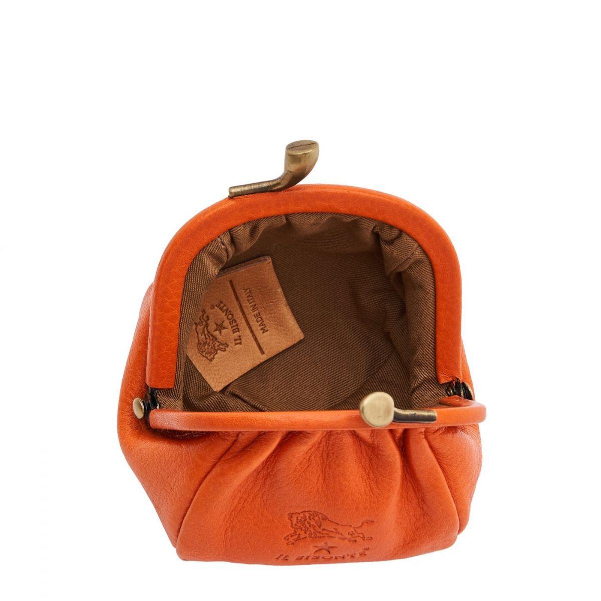 Porte Monnaie pour Femme  en Cuir De Vachette Doublé SCP016 couleur Orange | Details