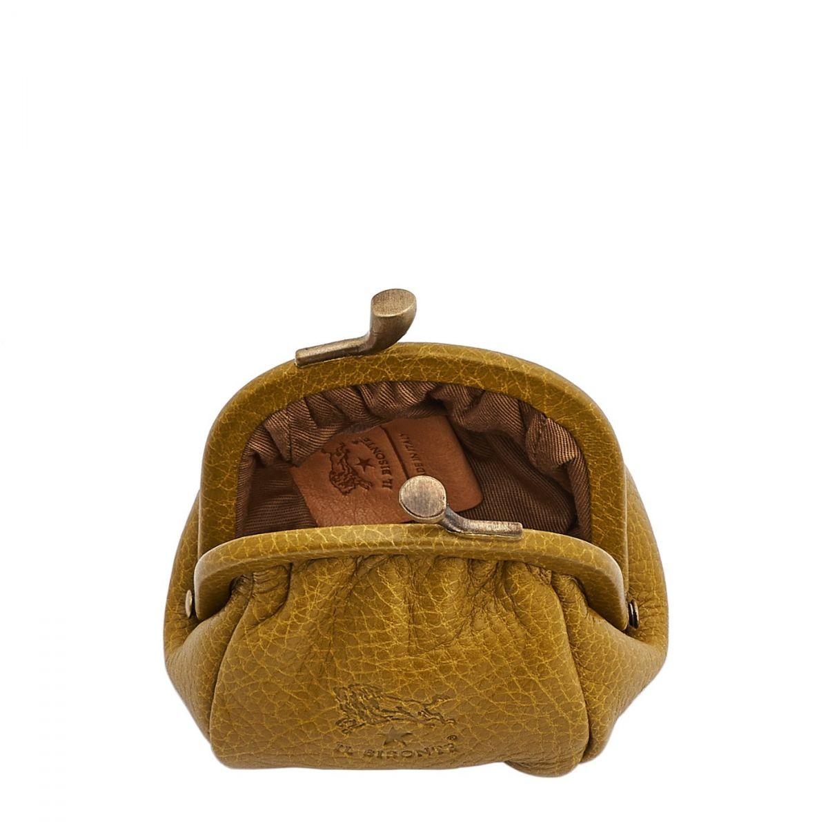 Porta Spiccioli da Donna in Pelle Di Vacchetta SCP016 colore Curry | Details