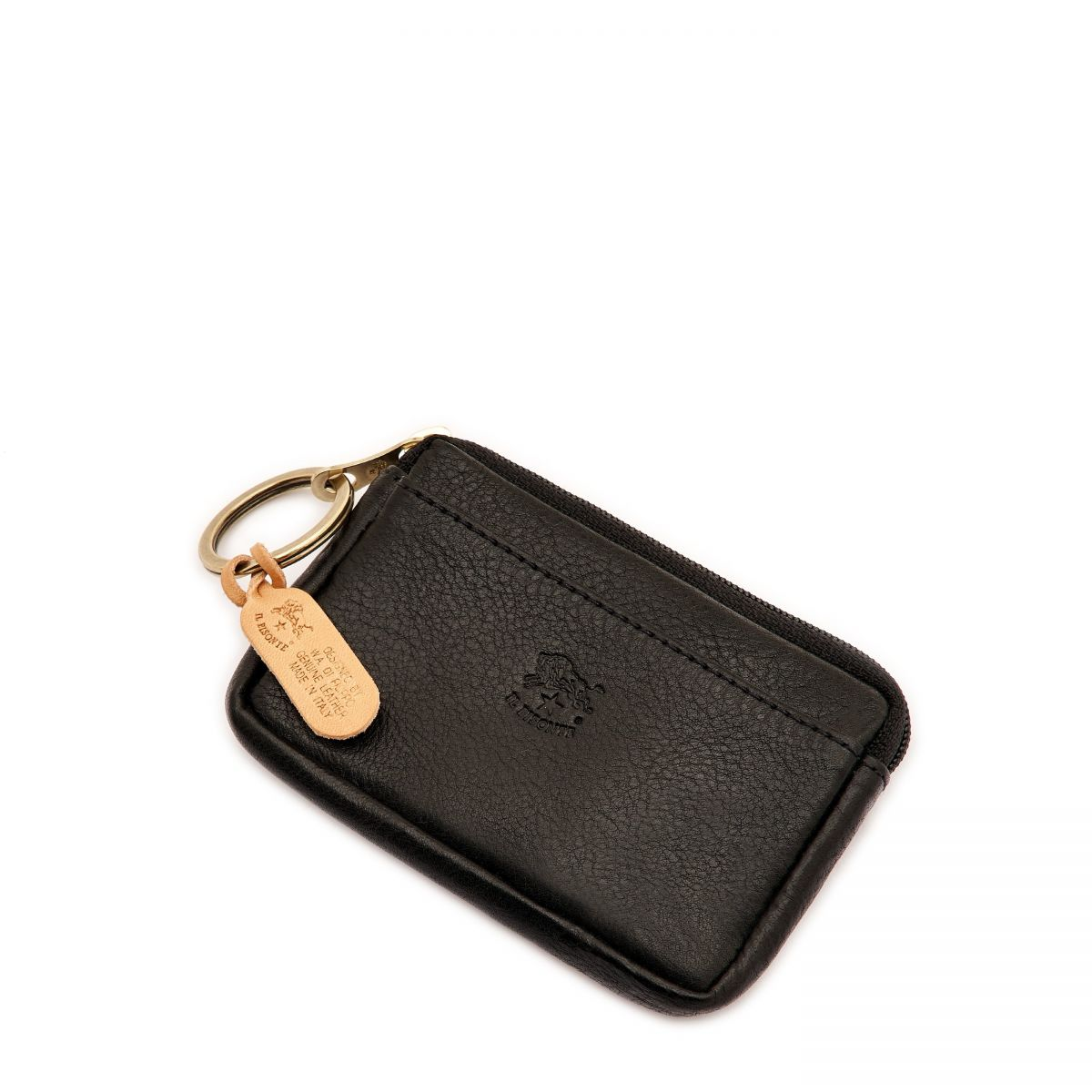 Coin Purse in Cowhide Double Leather color Black - SCP017 | Details