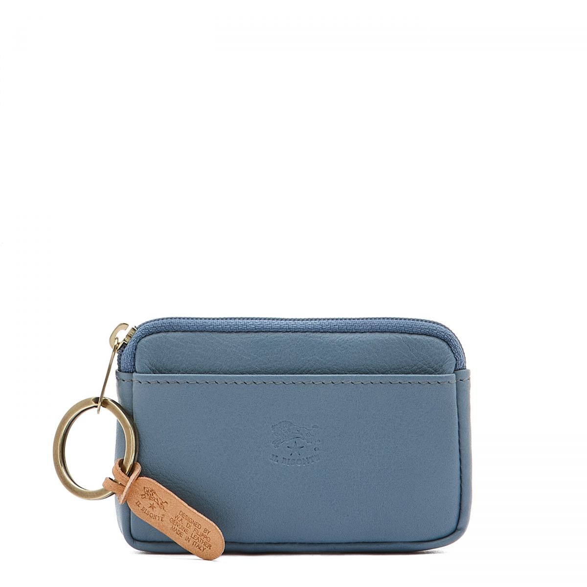 Coin Purse in Cowhide Leather color Blue Teal - SCP017   Details