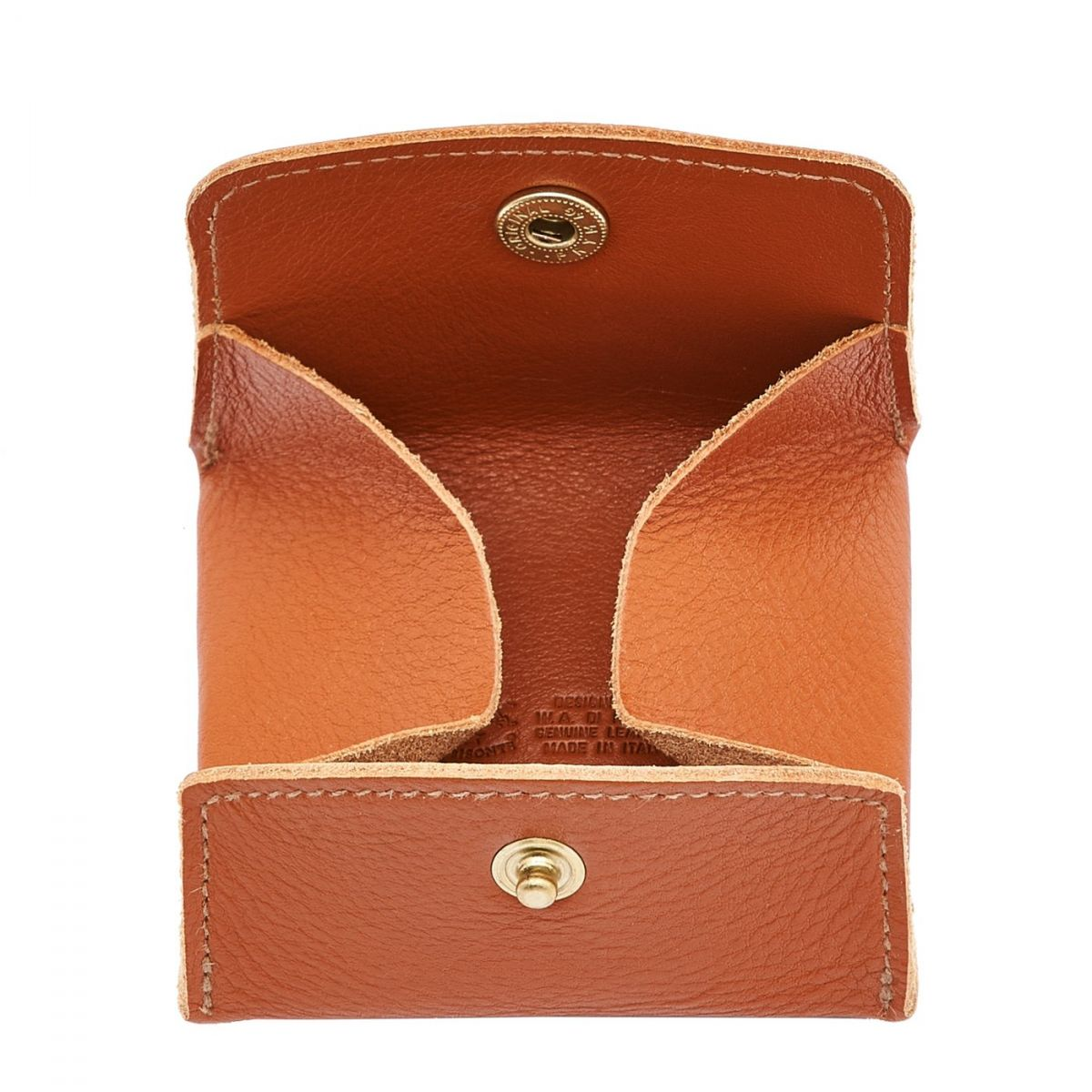 Coin Purse in Cowhide Double Leather color Caramel - SCP020 | Details