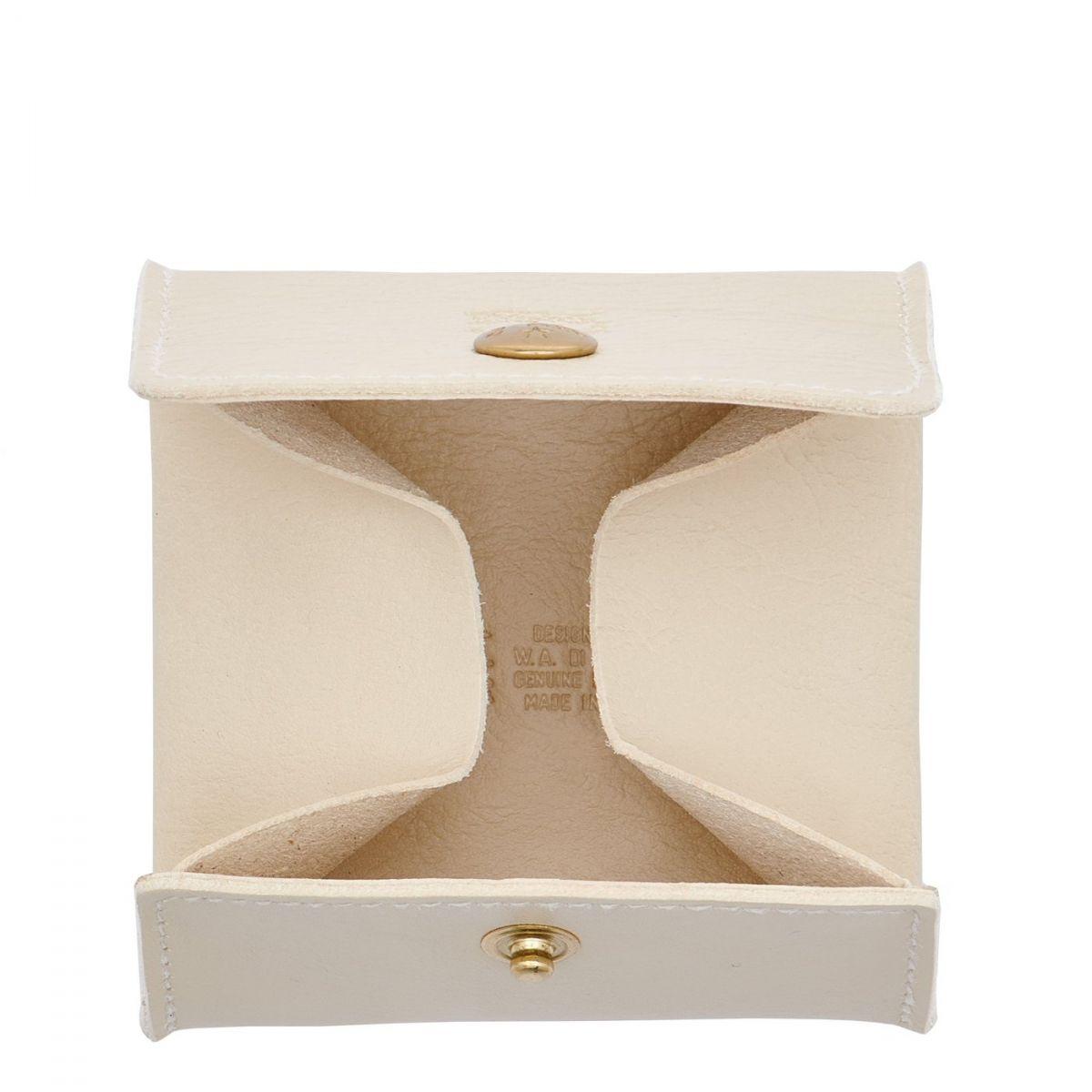 Porta Spiccioli in Pelle Di Vacchetta colore Avorio - SCP020 | Details