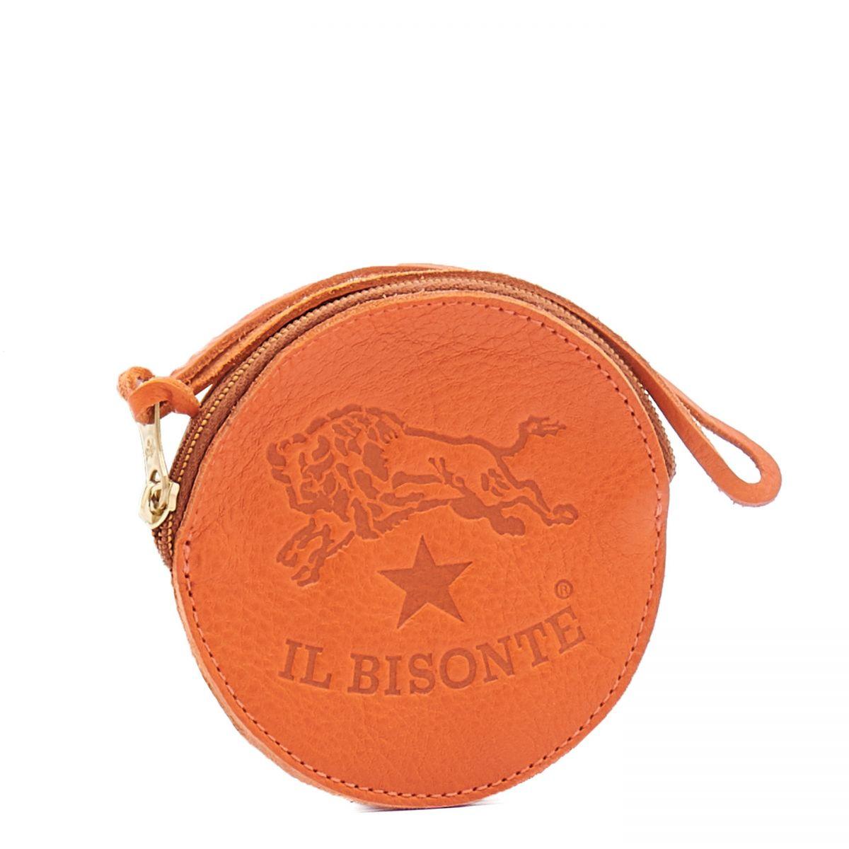 Porta Spiccioli  in Doppia Pelle Di Vacchetta SCP038 colore Arancione | Details
