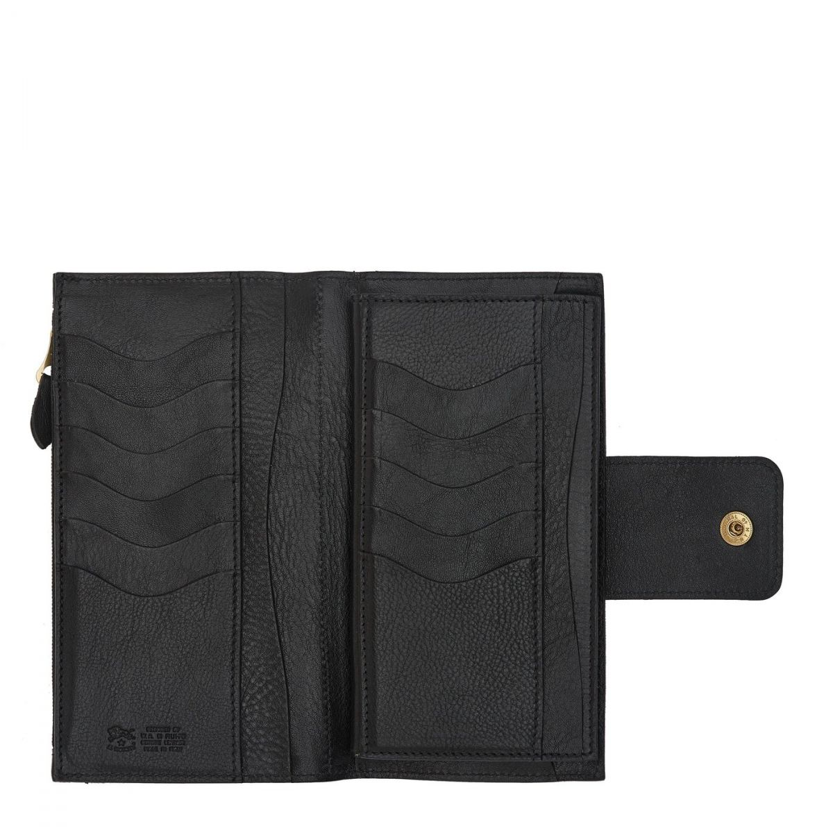 Women's Continental Wallet  in Cowhide Double Leather SCW007 color Black | Details