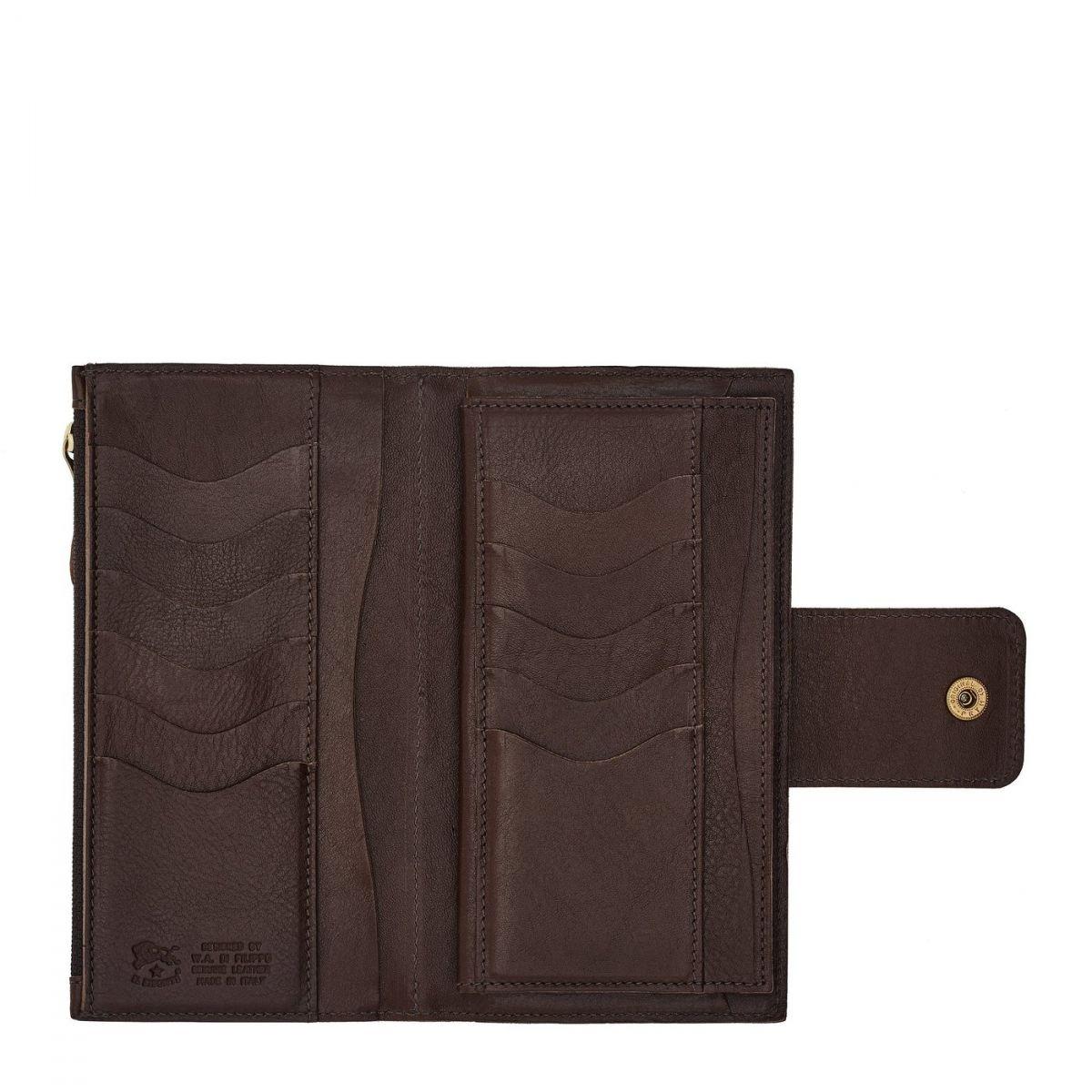 Portefeuille Continental pour Femme  en Cuir De Vachette Doublé SCW007 couleur Brun Foncé | Details