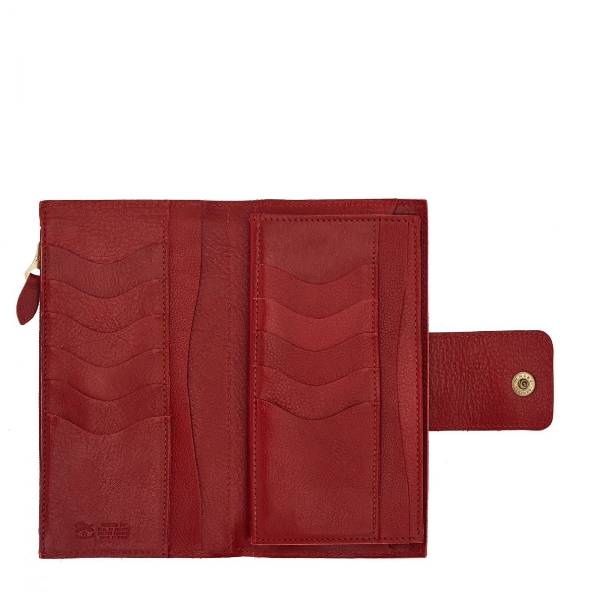 Women's Continental Wallet  in Cowhide Double Leather SCW007 color Red | Details
