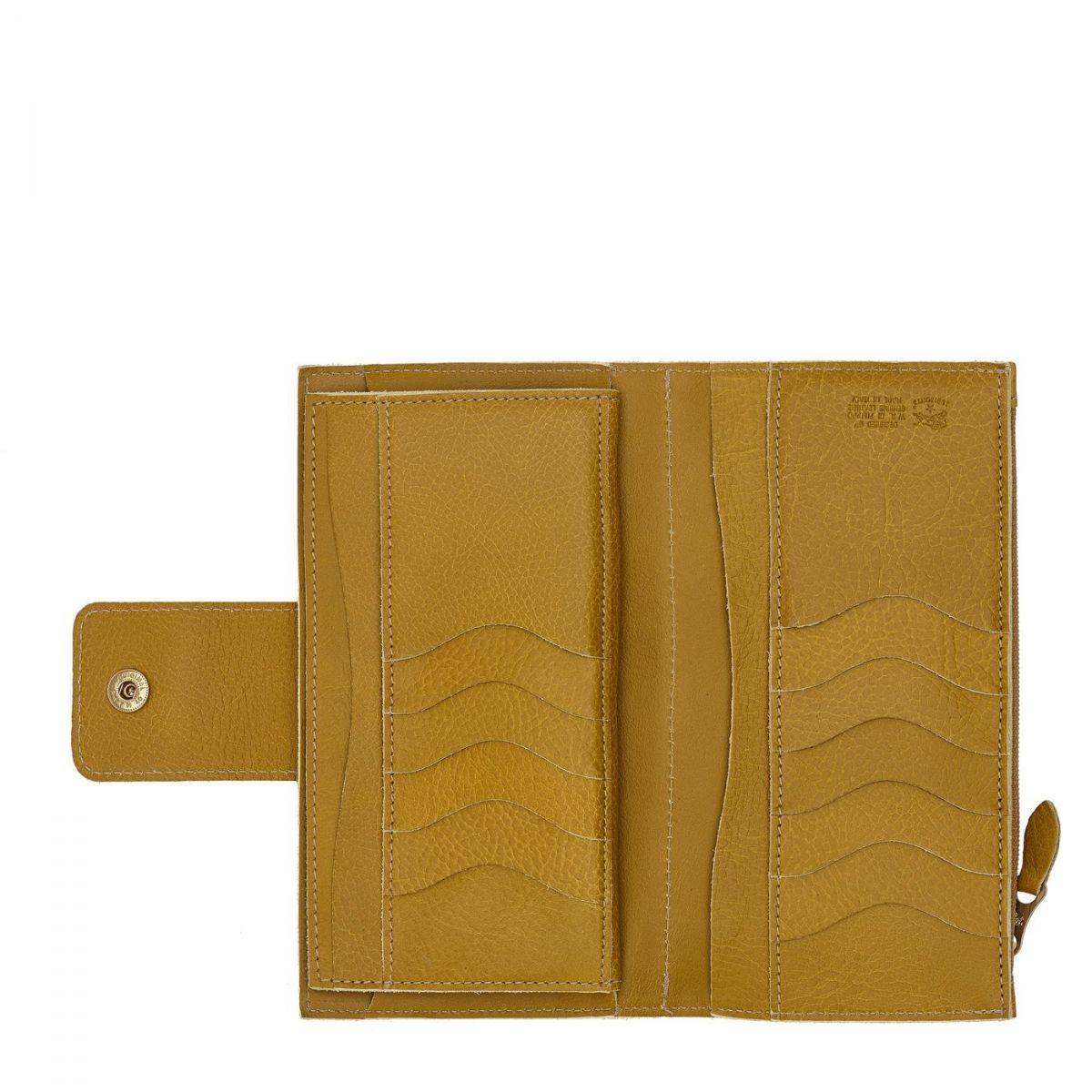 Women's Continental Wallet  in Cowhide Leather SCW007 color Curry | Details