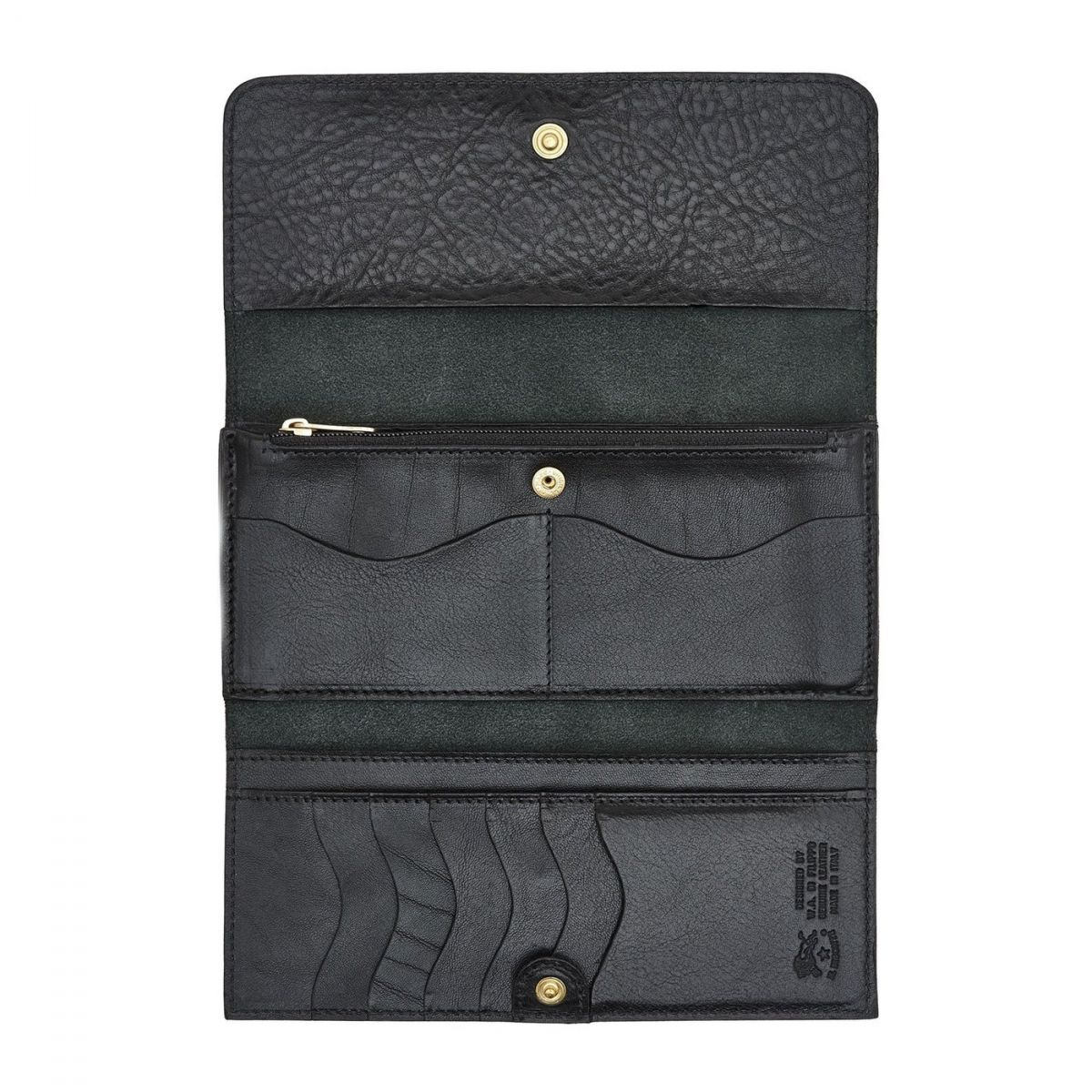 Women's Continental Wallet  in Cowhide Double Leather SCW009 color Black | Details