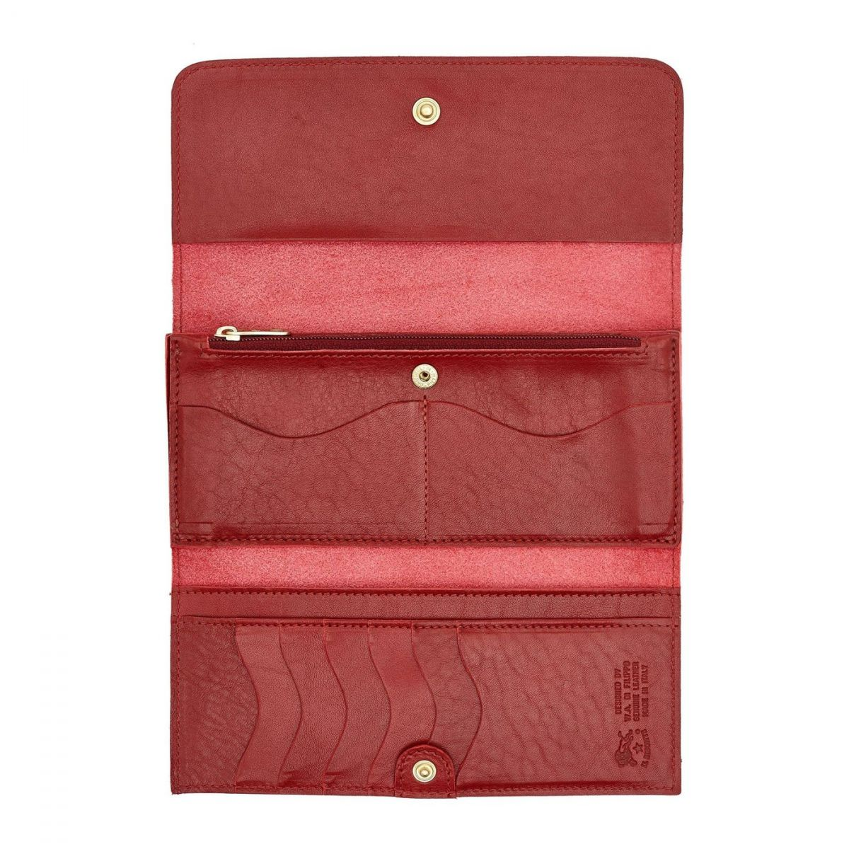 Women's Continental Wallet  in Cowhide Double Leather SCW009 color Red | Details