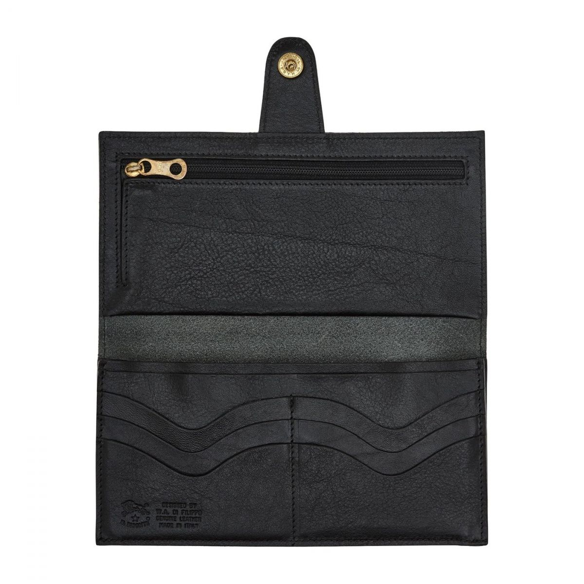 Women's Continental Wallet  in Cowhide Double Leather SCW057 color Black | Details