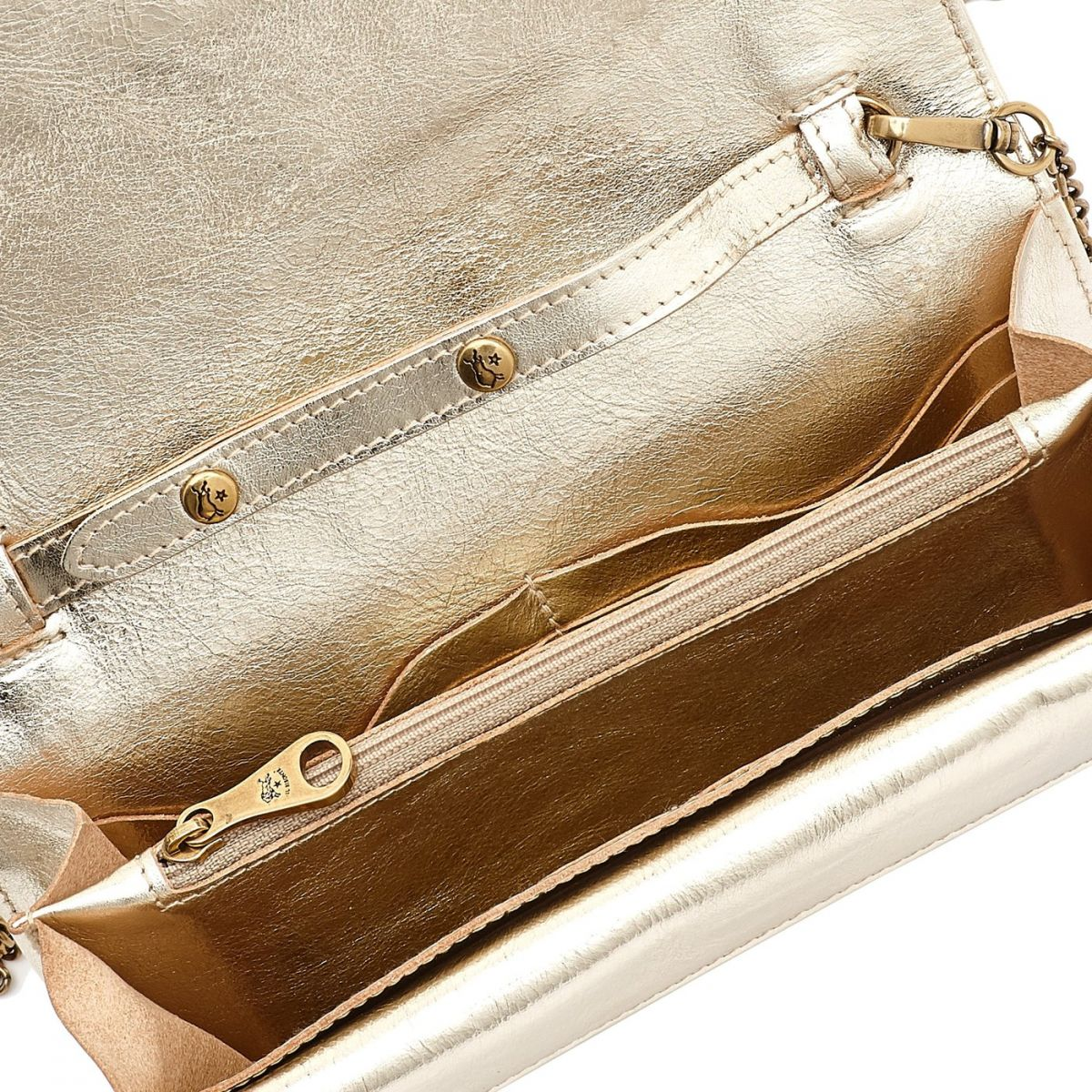 Women's Continental Wallet Giulia in Metallic Leather SCW067 color Metallic Platinum | Details