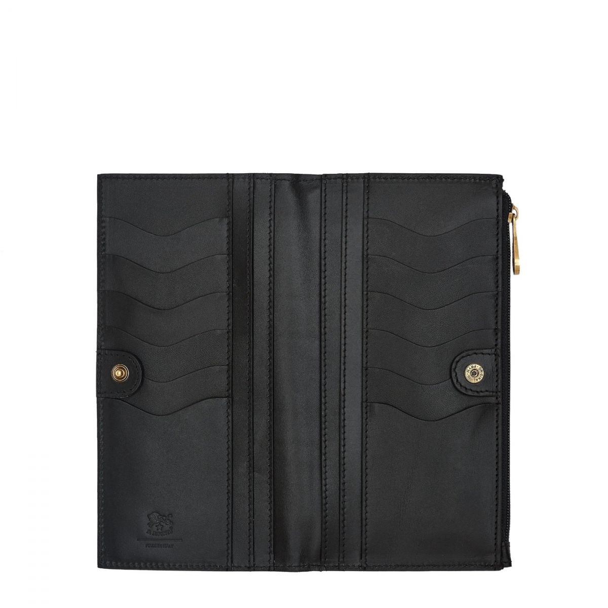 Women's Continental Wallet Giulia in Cowhide Leather SCW068 color Black | Details