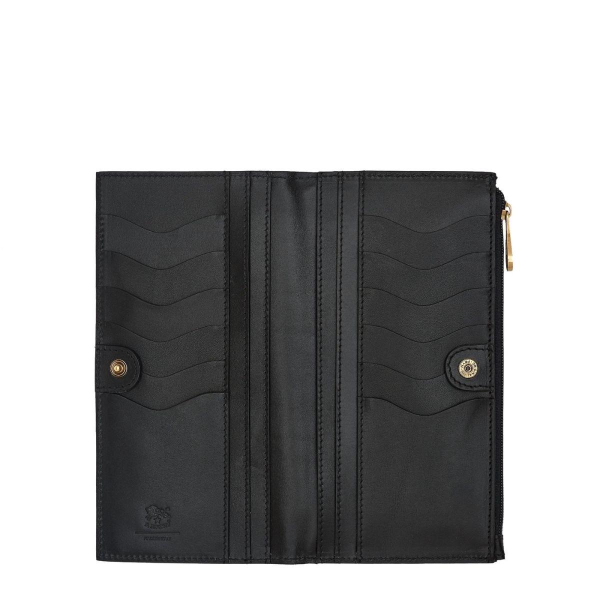 Portefeuille Continental pour Femme Giulia en Cuir De Vachette SCW068 couleur Noir | Details