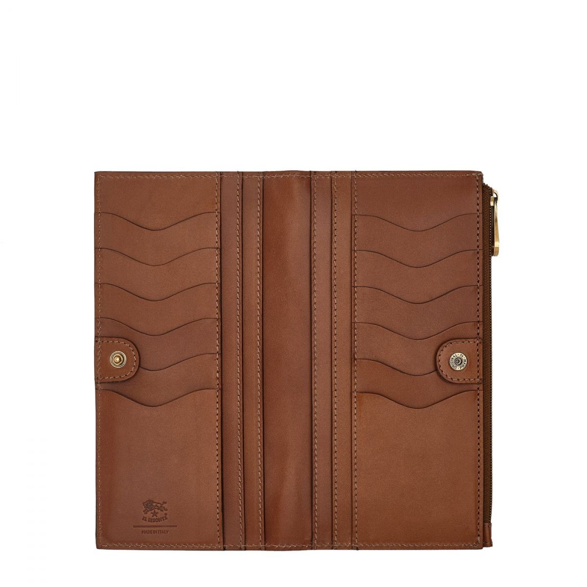 Women's Continental Wallet Giulia in Cowhide Leather SCW068 color Chocolate | Details