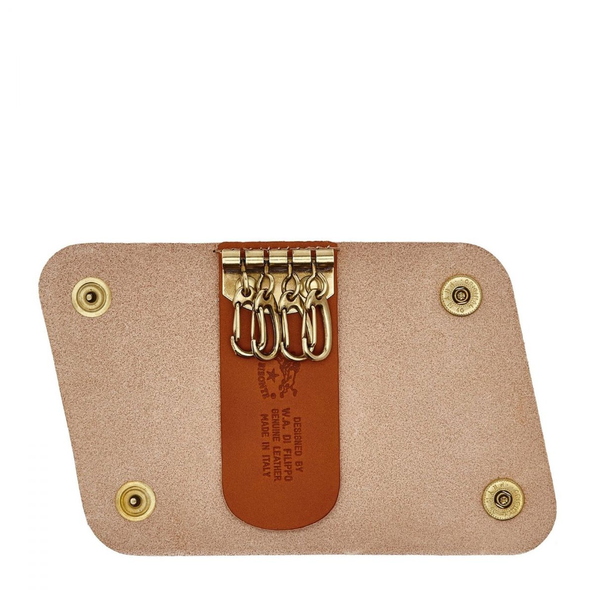 Keyring in Cowhide Double Leather SKH011 color Caramel | Details