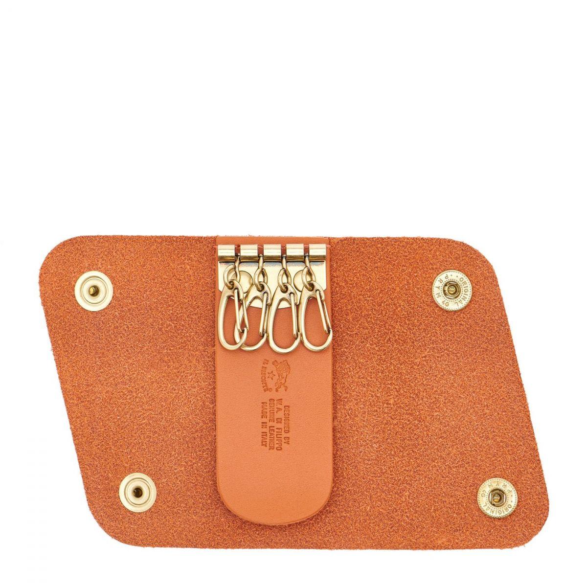 Porte Clefs en Cuir De Vachette Doublé couleur Orange - SKH011 | Details